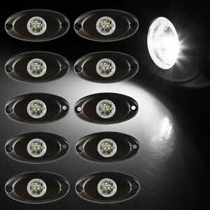 10x 9w Cree Led Rock Light White For Car Truck Boat Under Body Trail Rig Lamps
