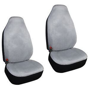 2 High Back Bucket Grey Seat Covers Universal Fit Suv Trucks Cars Front Seats