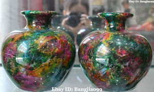 Taiwan Seven Colours Natural Jade Stone Hand Carving Flower Vase Bottle Pair