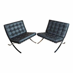 Barcelona Chairs Beautiful Vintage Black Leather Seats A Pair