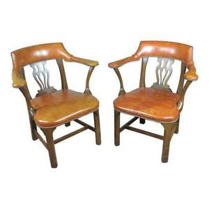 Vintage English Office Leather Chairs W Round Back A Pair