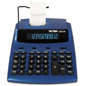 Victor 1225 3a Antimicrobial Two color Printing Calculator Blue 014751122539