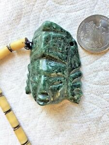 Pre Columbian Mayan Dark Green Jade 2 Face Head Man Necklace Pendant W Chain