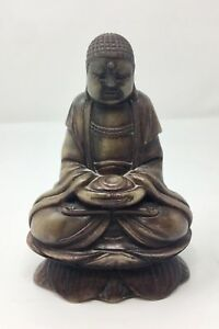 Antique Hand Carved Green Soapstone 5 3 4 Buddha Figurine Rgc