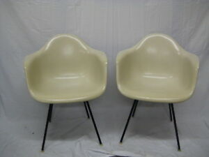 Midcentury Charles Eames 1957 Parchment Arm Chairs Excellent