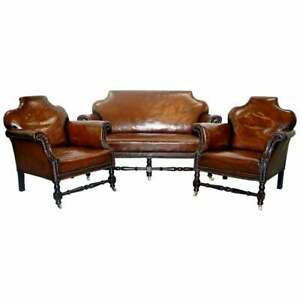 Small Victorian Restored Humpback Brown Leather Club Suite Sofa And Armchairs