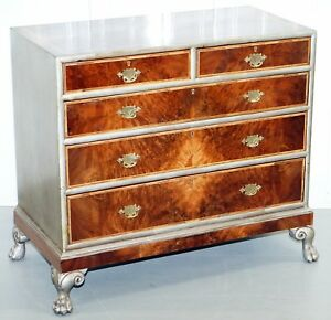 Rare Antique Walnut Chest Of Drawers Lion Hairy Paw Feet Upcycled Silver Finish