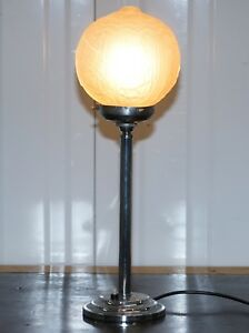 Stunning Original 1930 Art Deco Glass And Chrome Plated Table Lamp Very Stylish