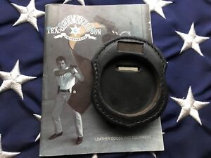 Tex Shoemaker Police Fire Round Badge Holder W Clip Black Leather