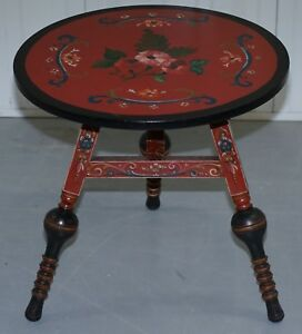 Rare Antique Hand Painted Gypsy Table From Holland Lovely Turned Legs Flowers