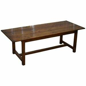 Stunning Fruitwood Three Plank Top French Farmhouse Refectory Dining Table