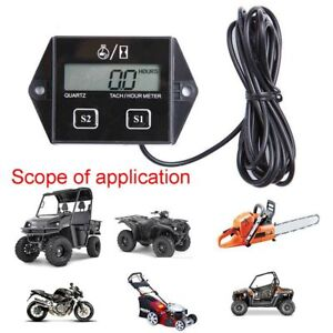 1pc Digital Tach Tachometer Hour Meter Gauge Engine Spark Inductive Motorcycle