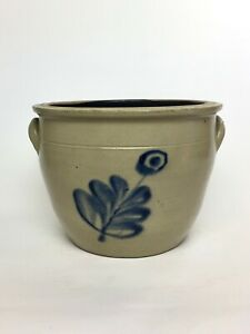 Decorated American Stoneware Crock With Flower Decoration