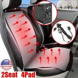 Universal Heated Pad Carbon Fiber Seat Heater 2 dial 5 level Switch Kit 2 4 Seat