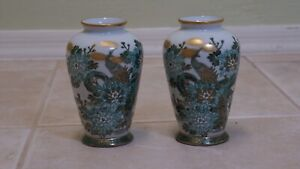 Pair 19th C Japanese Satsuma 7 Vases Meiji Period Signed Hand Painted Gilded