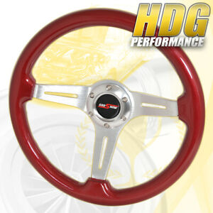 For Acura Honda Light Weight Jdm Horn Button Red Wood Grain Trim Steering Wheel