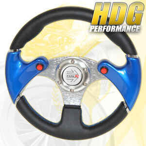 Jdm Blue 6 Hole 320mm Pvc Leather Racing Steering Wheel Nos Button Type R Horn