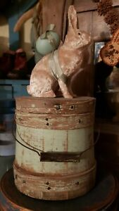 Antique Early Small Painted Firkin Bucket Perfect For Top Of Stack