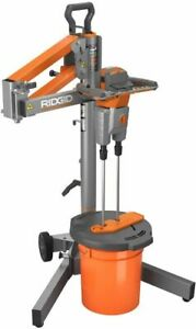 Ridgid Power Mixer With Stand Dual Paddle Programmable Bucket Not Included