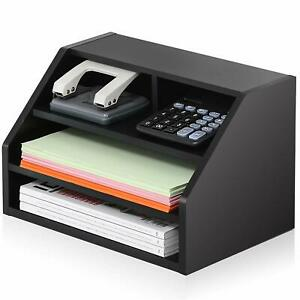 Fitueyes Black 3 tiers Wood Desktop Organizer for Home Office
