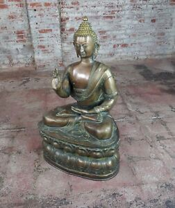 Chinese Antique 19th Century Large Brass Buddha