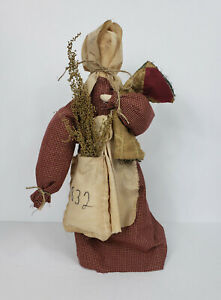 Primitive Country Prairie Doll Red Dress With Quilt On Stand