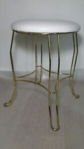 Vintage Mid Century Vanity Stool Chair Hairpin Legs Gold Tone Hollywood Regency