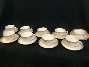 Antique Carl Tielsch Ct Germany Cup Saucer Set Of 8 Plus Extra Saucers Bowl