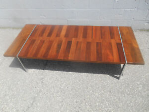 Rare Mcm Chrome Walnut Rosewood Tripartite Coffee Table By Lane Milo Baughman