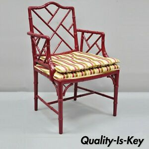 Vintage Chinese Chippendale Faux Bamboo Red Lacquer Lattice Back Arm Chair