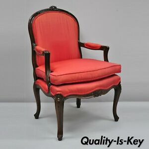 Vintage French Louis Xv Style Red Upholstered Walnut Bergere Fauteuil Arm Chair