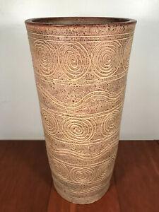 Large Mid Century Earthgender Style Sgraffito Architectural Pottery Floor Vase