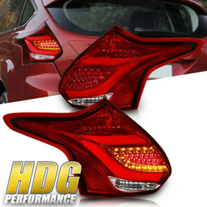Brand New 2012 2014 Ford Focus Hatchback Led Rear Tail Light Pair Red Lens
