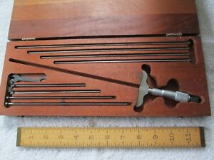 Starrett 449 Depth Microm W case 2 1 2 base 8 Rods 5 To 12 L Exc