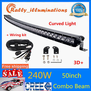 Curved 50inch 240w Led Light Bar Combo Single Row Fit Jeep Truck Offroad Wiring