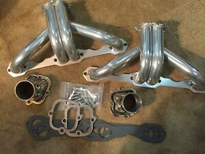 Hot Rod Block Hugger Headers Sbc Thermo Coated With Stainless Collectors