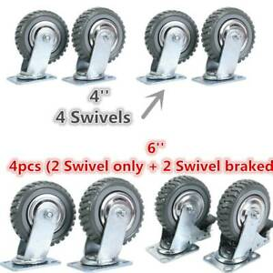 4pcs Heavy Duty Industrial Grade Pu Castor Wheels 360 Swivel Shopping Carts