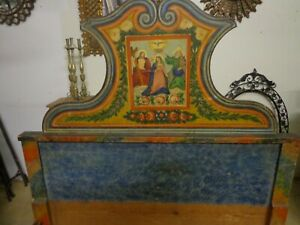 Rare Antique 19th Century Italian Paint Decorated Convent Bed Circa 1800