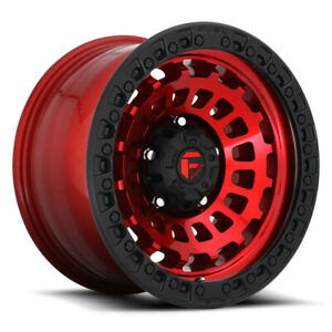 Fuel Zephyr D632 17x9 6x139 7 Offset 12 Candy Red With Matte Black qty Of 4