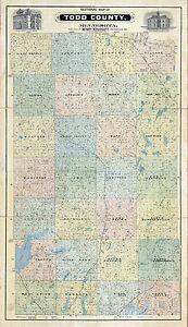 1890 Farm Line Map Of Todd County Minnesota Long Prairie