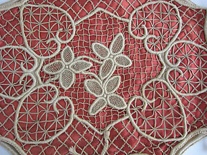 Antique Crocheted Needle Lace Hearts Burnt Rust Satin Pillow Cover Sham