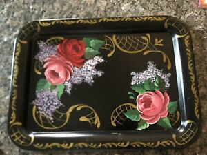 Tole Toleware Black Tin Serving Tray Floral 17 X 13 Rectangular Hand Painted