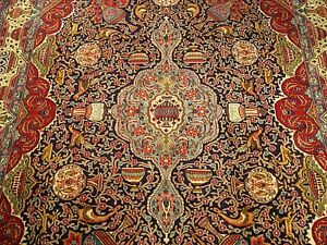 10 X13 Signed Handmade Antique Persian Archaeological Kashmar Soft Kork Wool Rug