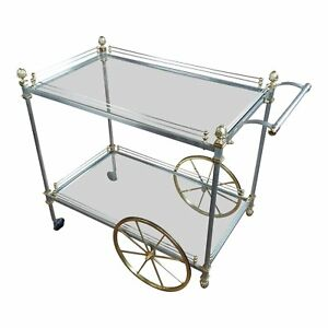 Maison Jansen Style Hollywood Regency Metal Glass Bar Cart