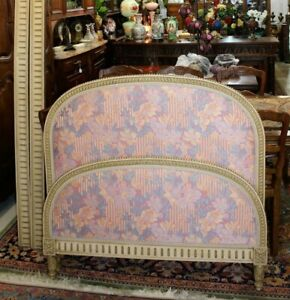 Antique French Painted Upholstered Louis Xvi Day Bed Rails 1880