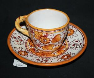 Lmas Hand Painted Italian Tea Cup Saucer Yellow Floral