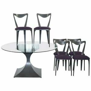 Rrp 13 750 Tom Faulkner 6 Tiffany Chairs Round Capricorn Glass Dining Table