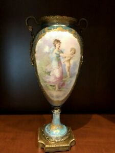 Antique Sevres Porcelain Gilt Bronze Handled Urn Vase