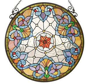 23 5 Round Victorian Floral Tiffany Style Stained Glass Window Panel