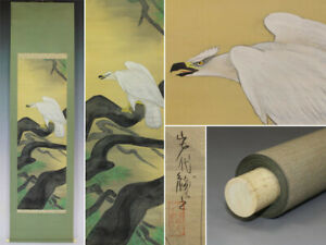 Hanging Scroll Japanese Painting Japan Hawk Pine Antique Vintage Picture 895i